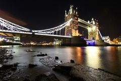 London. Tower Bridge Thames River London by night Stock Image
