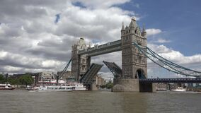 London Tower Bridge, Thames River View with Ship and Boats, Tourists Visit