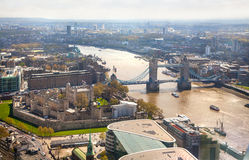 London, Tower bridge, Tower of London and river Thames. Stock Image