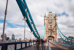 London Tower Bridge, UK England. Tower Bridge is a combined bascule and suspension bridge in London, over the River Thames. It is close to the Tower of London stock image
