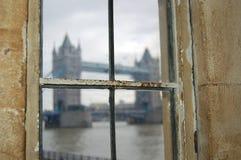 London Tower Bridge through window Stock Photography