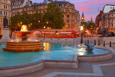 London Trafalgar Square fountain at sunset Royalty Free Stock Photo