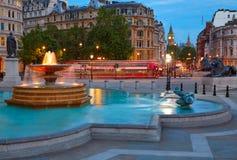London Trafalgar Square fountain at sunset Royalty Free Stock Images