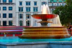 London Trafalgar Square fountain at sunset Royalty Free Stock Photography