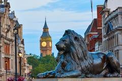 London Trafalgar Square lion and Big Ben Royalty Free Stock Photos