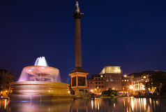 London  Trafalgar square at nighttime Stock Image