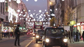 London traffic. Evening traffic on busy street in London, UK stock video