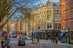 London traffic at one intersection of streets in the morning lig Royalty Free Stock Images