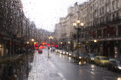 London traffic in a rainy day Royalty Free Stock Photo