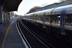 A London train at Hither Green station. Train stationary at Hither Green station for passengers Stock Images