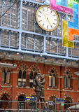 London Train Station St Pancras. Historic London St. Pancras Station modern world class terminal for Eurostar and domestic rail services Royalty Free Stock Images