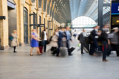 London Train Tube station Blur people movement Stock Images