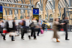 London Train Tube station Blur people movement Stock Photo