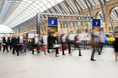 London Train Tube station Blur people movement Stock Image