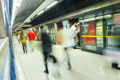 London Train Tube station Blur people movement Stock Photos
