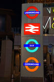 London transport. All the London transport signs at Stratford station Stock Photography