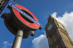 London Transport Logo and Big Ben Stock Photography