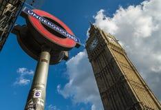 London Transport Logo and Big Ben Stock Photo