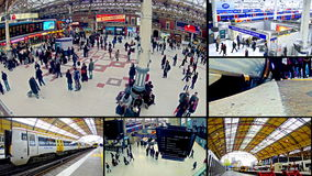 London transportation and commuters at rush hour stock video footage