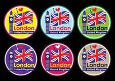 London travel icon set. United Kingdom-Big Ben Clock Tower and Flag design Royalty Free Stock Photography