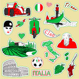 London travel icons. Set of the doodle sketches. Italy travel icons Royalty Free Stock Photo