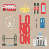 London travel info graphic. Vector illustration, Big Ben, eye, tower bridge and double decker bus, Police box, St Pauls Stock Images