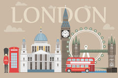 London travel info graphic. Vector illustration, Big Ben, eye, tower bridge and double decker bus, Police box, St Pauls Stock Photography