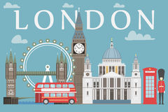 London travel info graphic. Vector illustration, Big Ben, eye, tower bridge and double decker bus, Police box, St Pauls. Cathedral, queens guards, telephone vector illustration