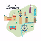 London. Travel map and vector landscape of buildings and famous Royalty Free Stock Photo