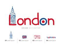 London travel set, England, Big Ben, bus Stock Image