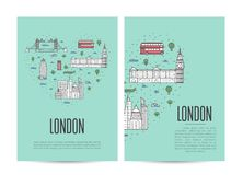 London travel tour booklet set in linear style Stock Image