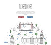 London travel tour poster in linear style stock illustration