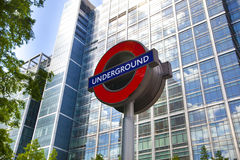 London tube, Canary Wharf station, Royalty Free Stock Image
