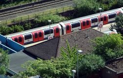 London tube. Central Line tube and station in North Acton, West London, from 80 feet Stock Images