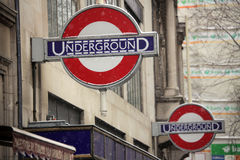 London tube sign in the snow Royalty Free Stock Photos