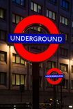 London tube signs. Underground signs on the London streets at evening Stock Photo