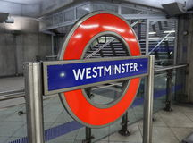 London Tube Station. A sign indicating that you are at Westminster tube station in London, England Royalty Free Stock Image