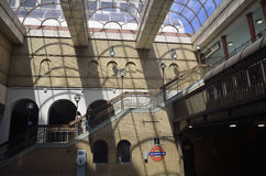 London Tube Train in Vintage Underground Station Stock Photos