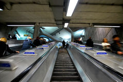 London Tube underground escalators with blurred people Stock Photo