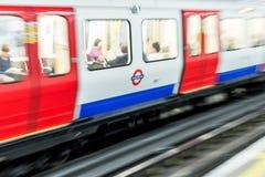 London Tube Underground train in Motion Stock Image