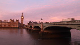 London twilight. Big Ben and Westminster Bridge over Thames in London twilight stock footage