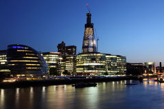 London at twilight and Thames with ships, UK Royalty Free Stock Photo