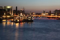 London at twilight and Thames with ships, UK Stock Photography