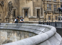 London Two Policemen front of Westminster Palace Stock Images