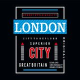 London typography design tee for t shirt royalty free illustration