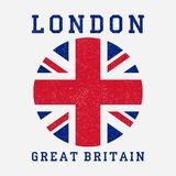 London typography with Great Britain flag. Grunge print for design clothes, t-shirt, apparel. Vector. royalty free illustration