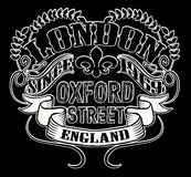 London typography, t-shirt graphics, vectors Stock Photos