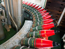 LONDON/UK - 9月12日:充分军械库在HMS贝尔法斯特的壳 免版税库存照片