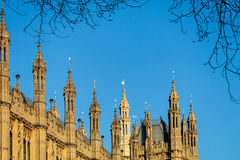 LONDON/UK - 2月13日:Parliamen被日光照射了议院的看法  免版税图库摄影