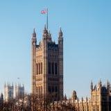 LONDON/UK - 2月13日:Parliamen被日光照射了议院的看法  免版税库存照片